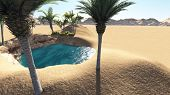 stock photo of oasis  - Oasis in the desert made in 3d software - JPG