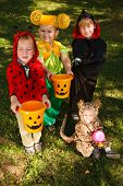 Four Kids Trick Or Treating
