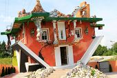 TYROL, AUSTRIA - AUGUST 4 : The Haus steht Kopf, an upside down house designed by Polish architects