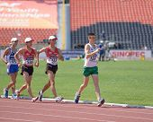 DONETSK, UKRAINE - JULY 13: Competitors in the final of 10,000 metres Race Walk during World Youth C