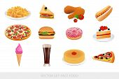Vector set: Isolated Fast food (Junk food). Illustration on white background