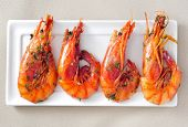 stock photo of shrimp  - closeup of a plate with spanish shrimps cooked with garlic and parsley - JPG