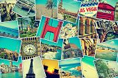 image of instagram  - mosaic with pictures of different places and landmarks - JPG
