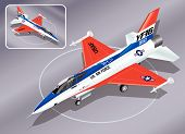 Detailed Isometric Vector Illustration of F-16 Jet Fighter