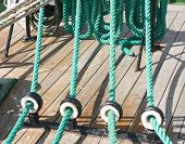 pic of shekel  - Closeup of many tightropes and shekels of a sailing ship or yacht - JPG