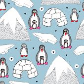 Seamless winter wonderland kids penguin background pattern in vector