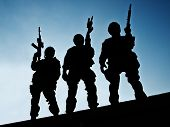 stock photo of officer  - Silhouettes of S - JPG