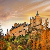 sunset over Alcazar castle, Spain, Segovia