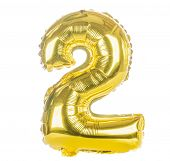 Gold balloon font part of full set of numbers, number two, 2