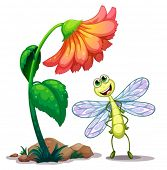 Illustration of a smiling dragonfly below the giant flower on a white background