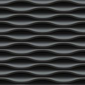 Dark black seamless texture. Wavy background. Interior wall decoration. 3D Vector interior wall panel pattern. Modern wavy black design wall.