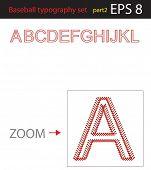 Alphabet baseball style, Vector illustration, easy all editable part2