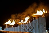 INNSBRUCK, AUSTRIA - JANUARY 13 The olympic fire is burning during the opening ceremony at the Bergi