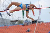 DONETSK, UKRAINE - JULY 11: Francesca Semeraro of Italy competes in Pole Vault during 8th IAAF World Youth Championships in Donetsk, Ukraine on July 11, 2013