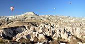 Hot air balloons rise  in Cappadocia