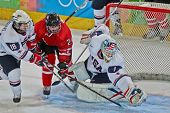 INNSBRUCK, AUSTRIA - JANUARY 15 Edwin Minney (USA) catches the puck a Canada beats the USA 5:1 in th