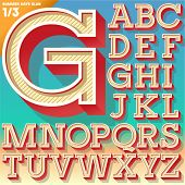 Vector retro alphabet for Summer typography design. Slab style. Upper cases