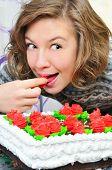 Happy Girl Eat Cake
