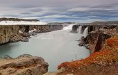stock photo of northeast  - Selfoss waterfall in Vatnajokull National Park Northeast Iceland - JPG