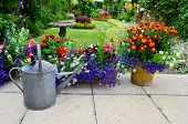 picture of planters  - Colorful patio garden in summer with bright colorful planters - JPG