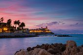Seascape Of Antibes At Sunset