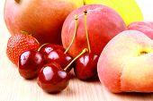 Platt Peach, Cherries, Strawberries, Lemon And Mango,