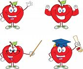 Red Apples Cartoon Mascot Characters 5.Collection