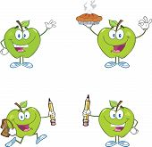 Green Apples Cartoon Mascot Characters