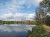 stock photo of brest  - Nantes to Brest canal in spring Guenrouet area - JPG