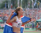 DONETSK, UKRAINE - JULY 14: Anita Hinriksdottir of Iceland win gold medal in the final on 800 meters