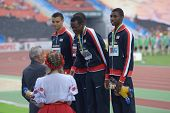 DONETSK, UKRAINE - JULY 14: Team USA win silver in the medley relay during 8th IAAF World Youth Cham