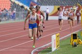 DONETSK, UKRAINE - JULY 14: Anita Hinriksdottir of Iceland (in front) fight for her gold medal in the final on 800 meters during 8th IAAF World Youth Championships in Donetsk, Ukraine on July 14, 2013