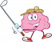 Brain Cartoon Character Swinging A Golf Club