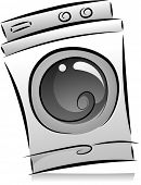 Illustration of Washing Machine in Black and White