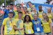 DONETSK, UKRAINE - JULY 14: Swedish team celebrate the gold medal of Irene Ekelund during 8th IAAF World Youth Championships in Donetsk, Ukraine on July 14, 2013