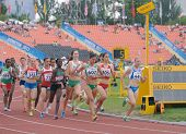 DONETSK, UKRAINE - JULY 14: Girls compete in the final of 2000 metres steeplechase during 8th IAAF W
