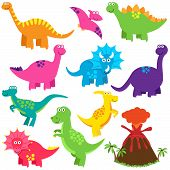 Vector Collection of Cute Cartoon Dinosaurs and a Volcano