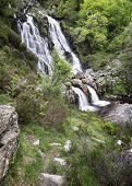 Rhiwargor Waterfall Landscape In Snowdonia National Park During Summer