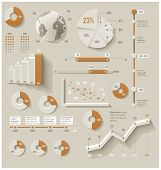 Vector infographic elements. Set of the 3d charts, pie charts and other infographic design elements