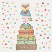 Concept hipster cat with camera in suitcases in vector. Cute funny cartoon illustration in vintage s