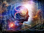 stock photo of directional  - Arrangement of human feature lines and symbolic elements on the subject of human mind consciousness imagination science and creativity - JPG