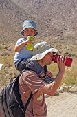 picture of anza  - Father and Son drinking water in the California Desert - JPG