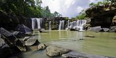 Panorama Of Tat Ton Waterfall At Chaiyaphum In Thailand.