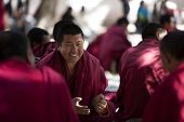 LHASA, TIBET- OCT 07: Tibetan monks are debating over Buddhist Scriptures at the Sera Monastery on O