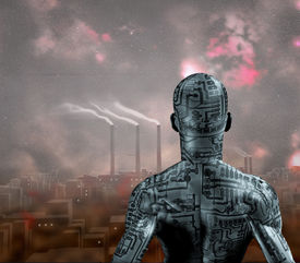 stock photo of sci-fi  - Android stands before Smog filled future city - JPG
