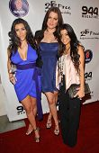 Kim Kardashian with Chloe Kardashian and Kourtney Kardashian at the Debut of 2 B Free Spring 2008 Co