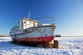 Boat On Ground In Winter