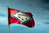 Arkansas (USA) flag waving in the evening