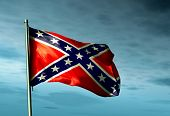 Confederate flag waving in the evening