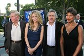 Sumner Redstone and Michelle Pfeiffer with Robert De Niro and Grace Hightower at the Los Angeles Premiere of